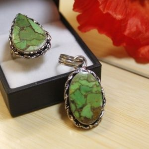 Beautiful Copper Turquoise Ring and Pendant Set